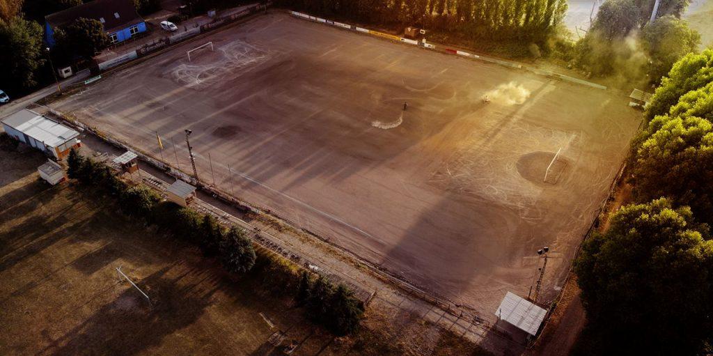 Motoball Stadion am Kanal vom 1. MSC Seelze e.V. im ADAC aus der Luft